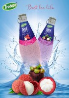 Basil seed lychee - mangosteen drink