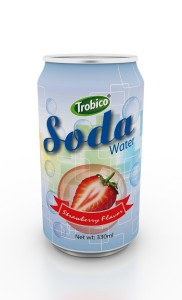 Supplier 330ml Aluminum can Strawberry Flavor Soda Water