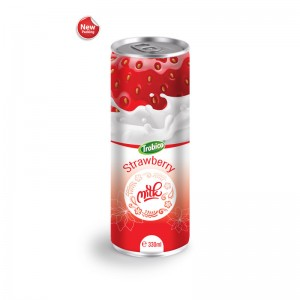Wholesale Beverage 330ml Aluminum can Pure Strawberry Milk