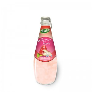 290ml Glass bottle High Quality Rose Apple Juice with Coco Jelly
