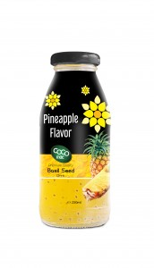 basil seed with pineapple  flavor 250ml glass bottle
